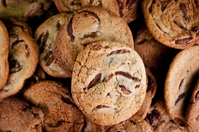 Choc chip cookies. Top down view stock photo