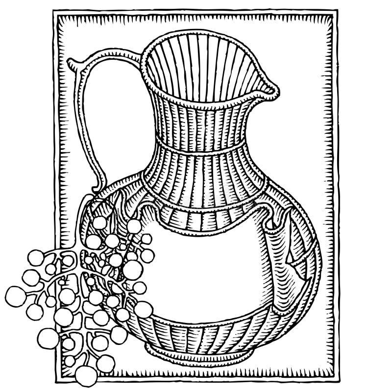 Choc de vin avec la gravure sur bois de raisin illustration libre de droits