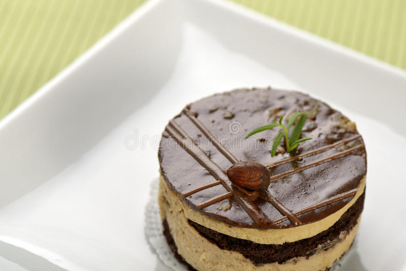 Chocalete kaka som dekoreras med hasselnöten royaltyfri bild