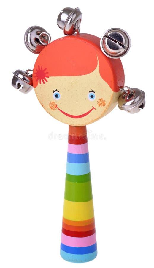 Chocalho de madeira do brinquedo com sinos foto de stock