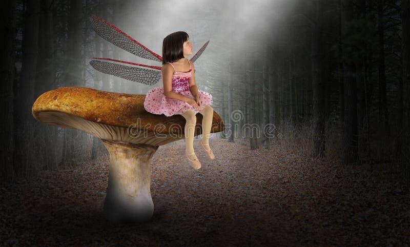 Chochlik, Pixie, wyobraźnia, dziecko, natura, drewna obrazy royalty free