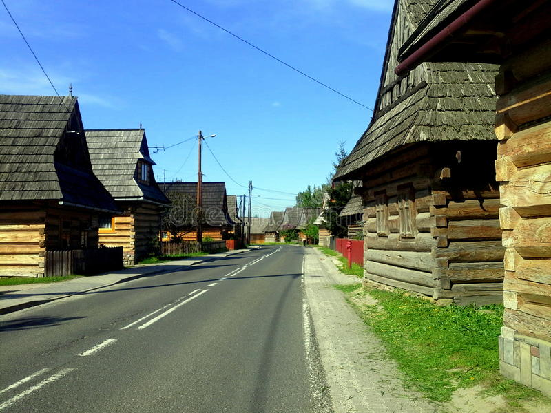 Traditional wooden huts in Chocholow, Poland royalty free stock photo