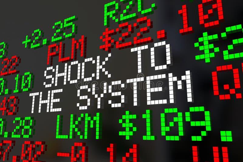 Chock till tickeren för systemaktiemarknadkorrigeringen uttrycker 3d Illu vektor illustrationer