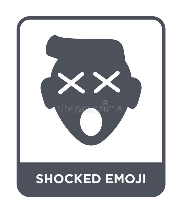 chockad emojisymbol i moderiktig designstil Chockad emojisymbol som isoleras på vit bakgrund chockad enkel emojivektorsymbol och royaltyfri illustrationer