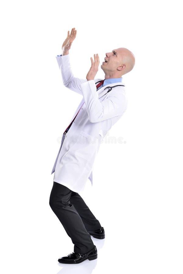 Chockad förvånad sjuksköterskaman arkivfoton