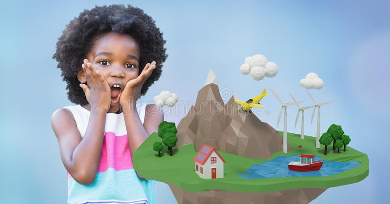 Chockad flicka med händer på kinder vid låg poly jord vektor illustrationer