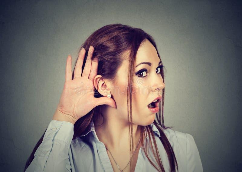 Chockad kvinnatjuvlyssnande Rykten och skvallrar begrepp royaltyfri foto