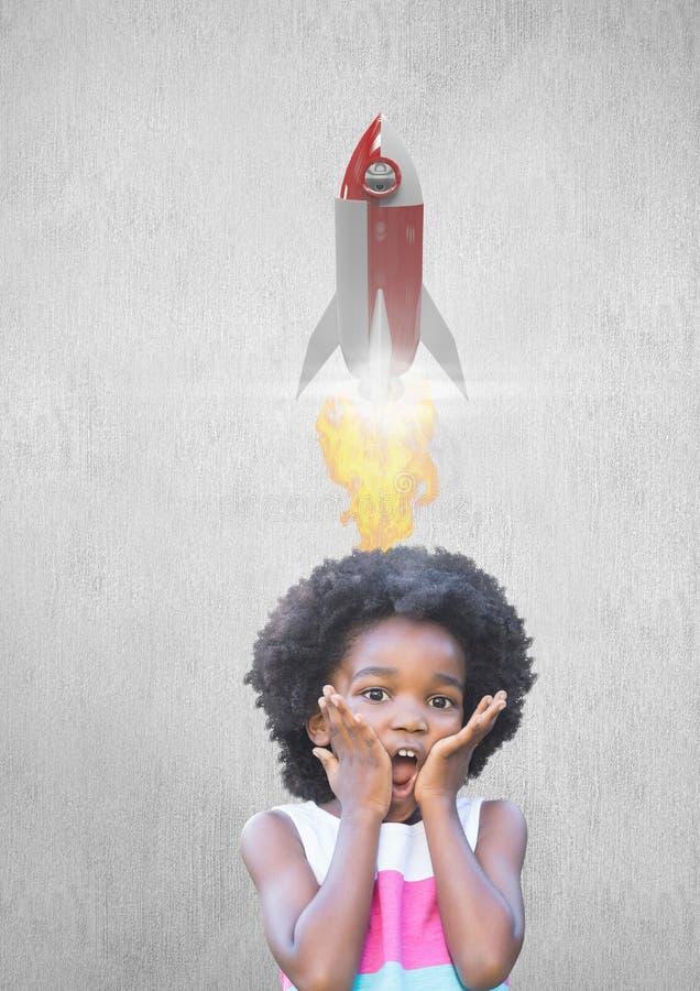 Chockad unge som trycker på kinder medan raketflygfast utgift royaltyfri illustrationer