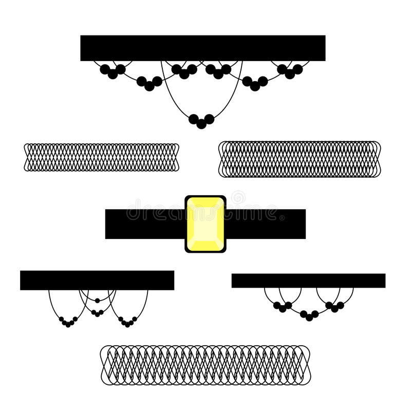 Chocker necklace set. Chocker set. Stock vector illustration of popular necklace style isolated on white background vector illustration