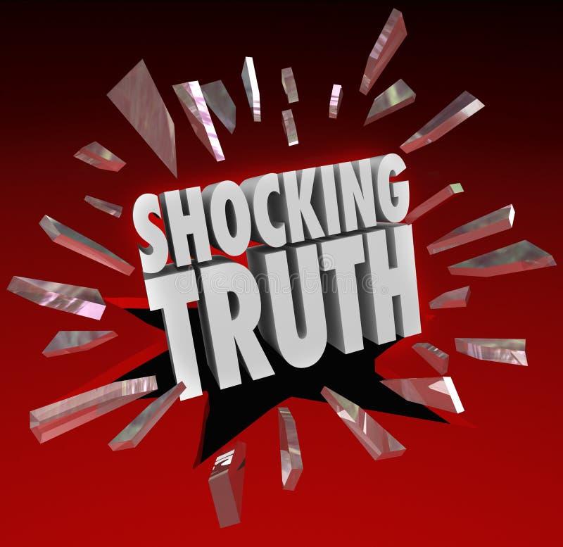 Chockerande sanning uttrycker informationsöverraskning om nyheterna stock illustrationer