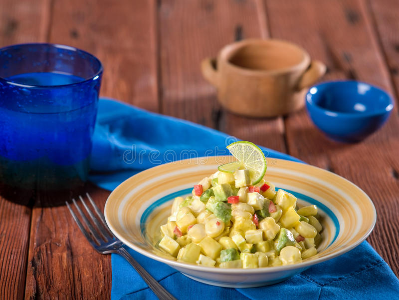 Choclo con queso, a typical Peruvian dish stock photography