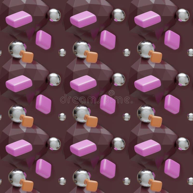 Choco大理石和糖果无缝的背景 皇族释放例证