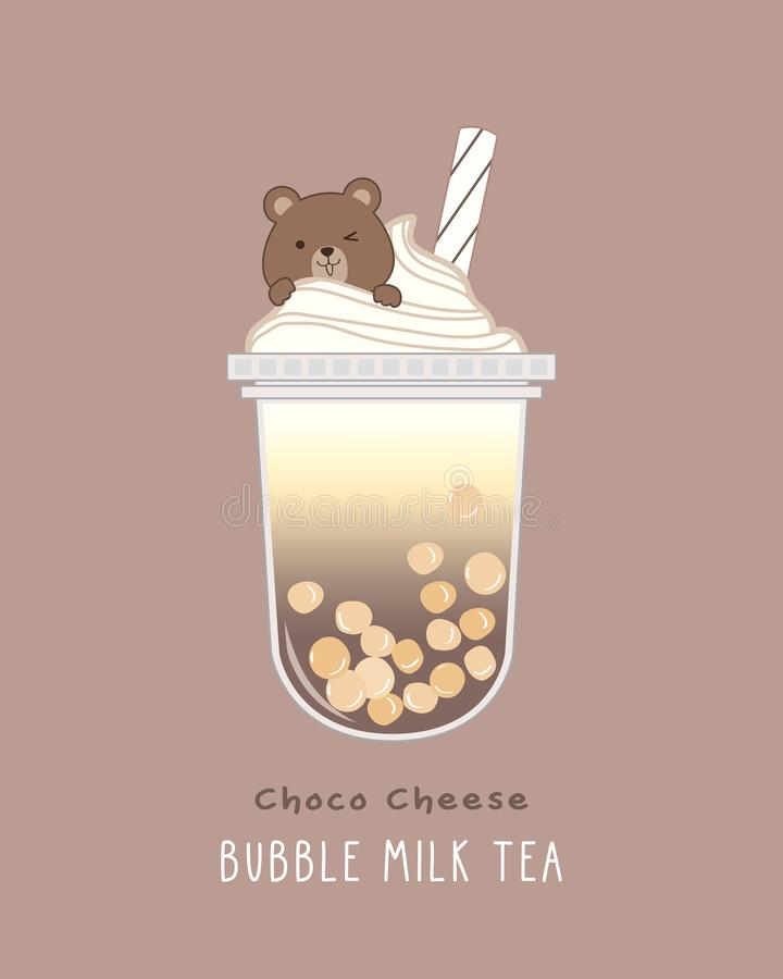 Choco Cheese Bubble Milk Tea royalty free stock image
