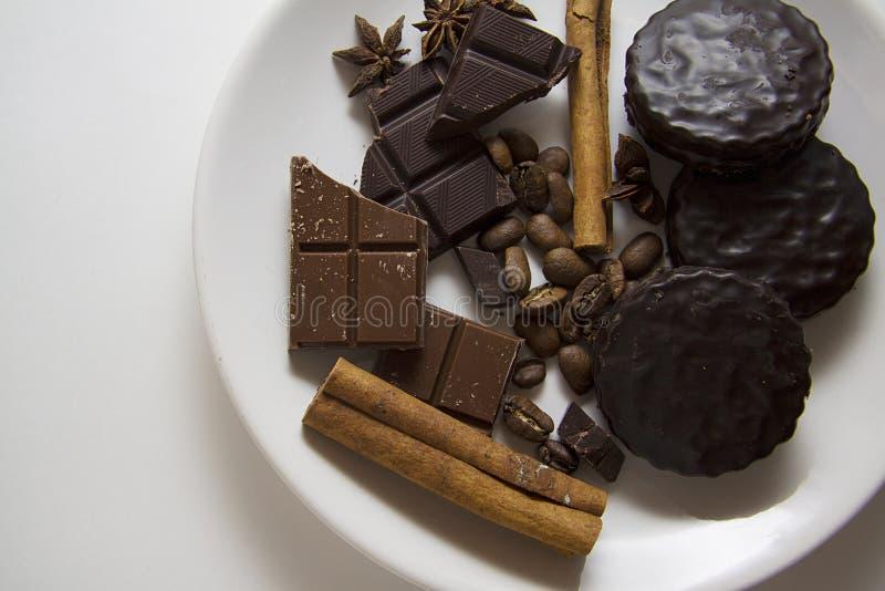 Choco met koffie en kaneel 14 stock afbeelding