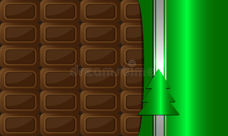Choco3. Open bar of chocolate wrapped in colored foil with a decorative strip and christmas tree. holiday background royalty free illustration