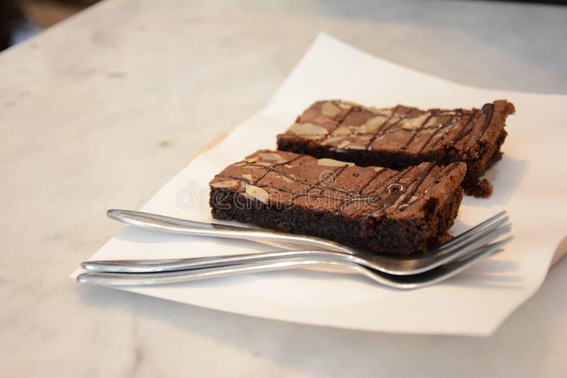Chocolade Brownie Cake royalty-vrije stock afbeelding
