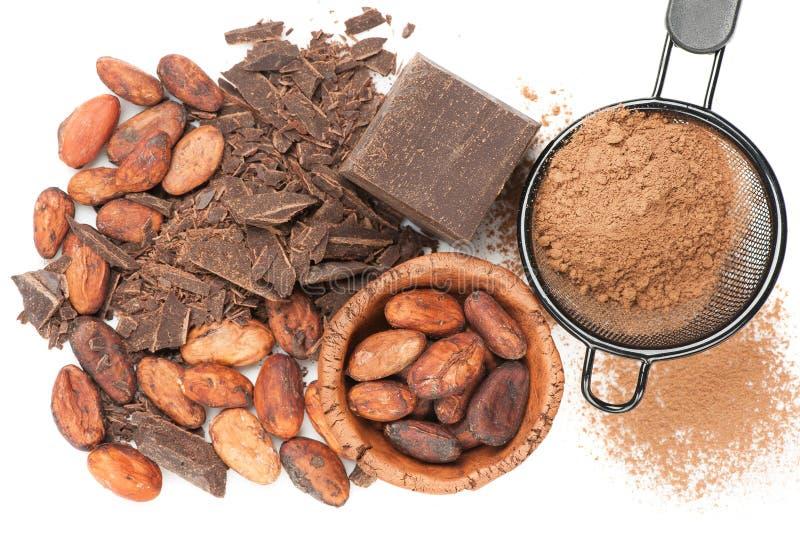 Chocolade, cacaobonen en cacaopoeder stock foto