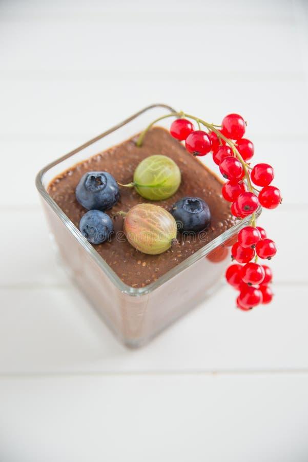 Chocolade Chia Pudding stock foto