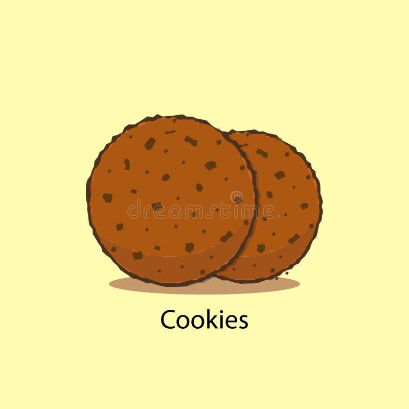 Chocolade Chip Cookie Koekjes met chocolade vectorillustratie op gele achtergrond royalty-vrije illustratie