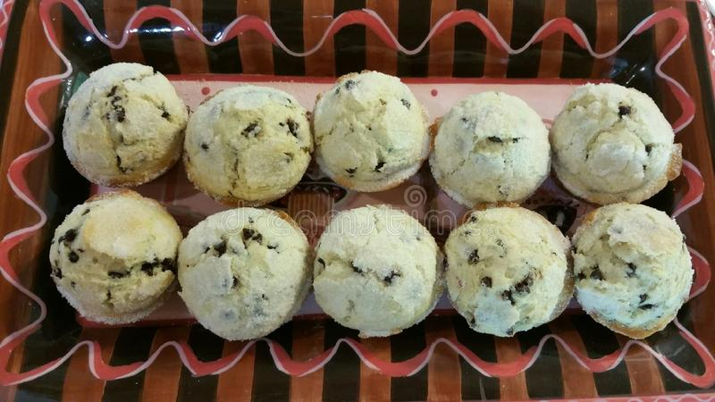Chocolade Chip Muffins stock afbeelding