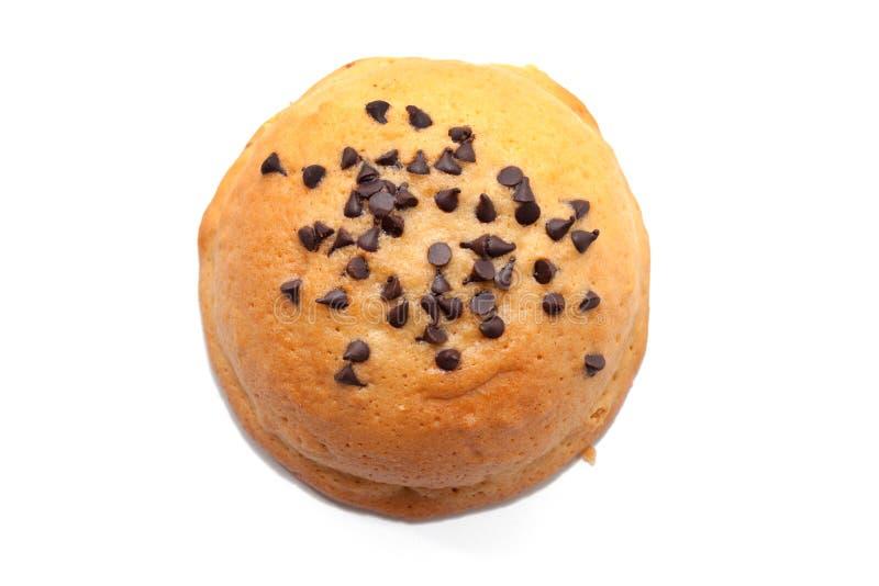 Chocolade Chips Coffee Bun op wit wordt geïsoleerd dat stock foto's