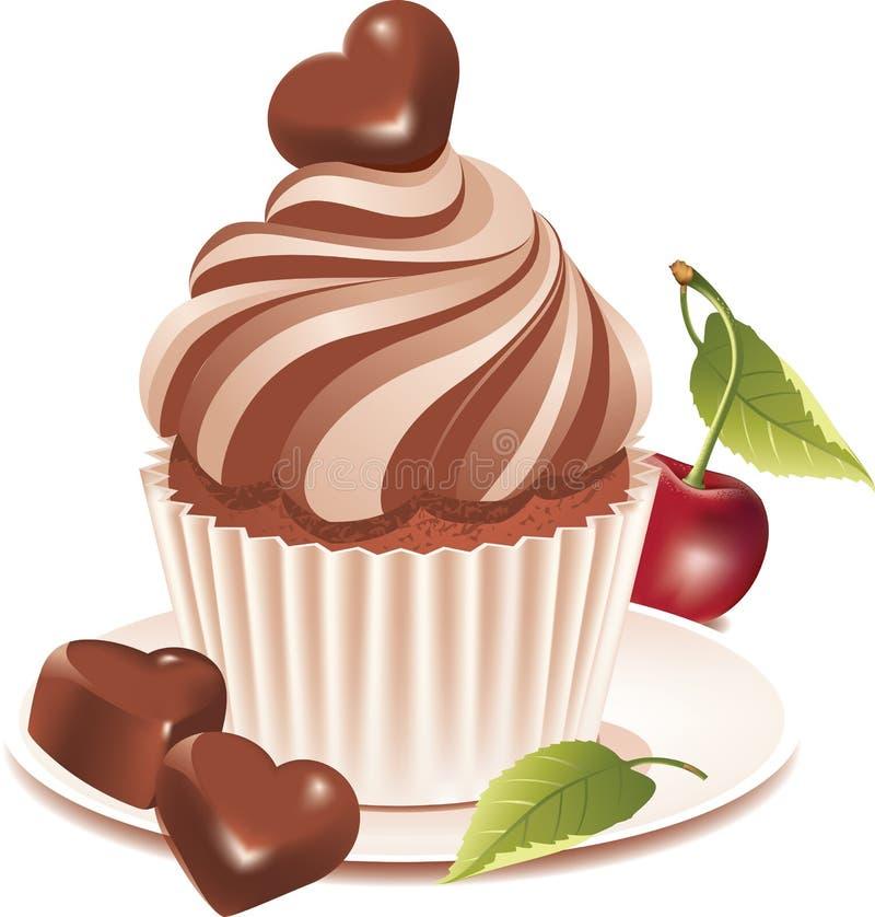 Chocolade cupcake stock illustratie
