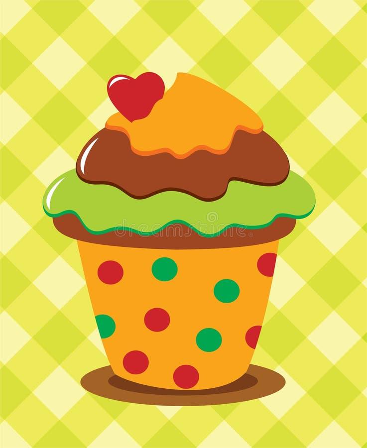 Chocolade cupcake met hart stock illustratie
