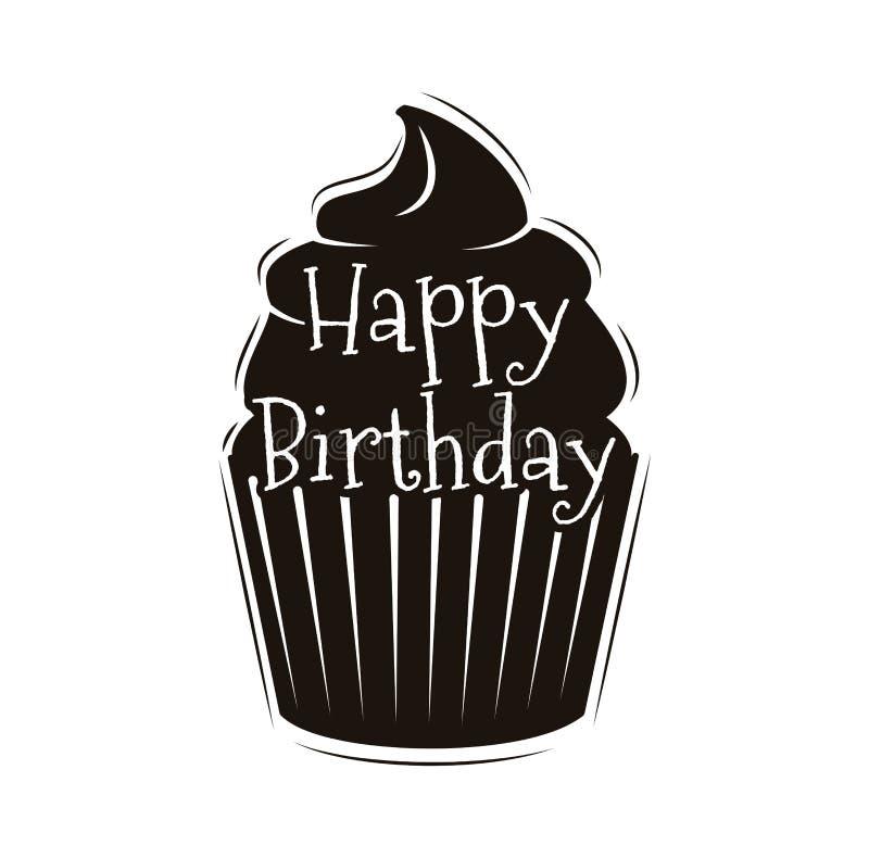 Chocolade Cupcake met vork gelukkig gelukkig verjaardagsontwerp, vector stock illustratie