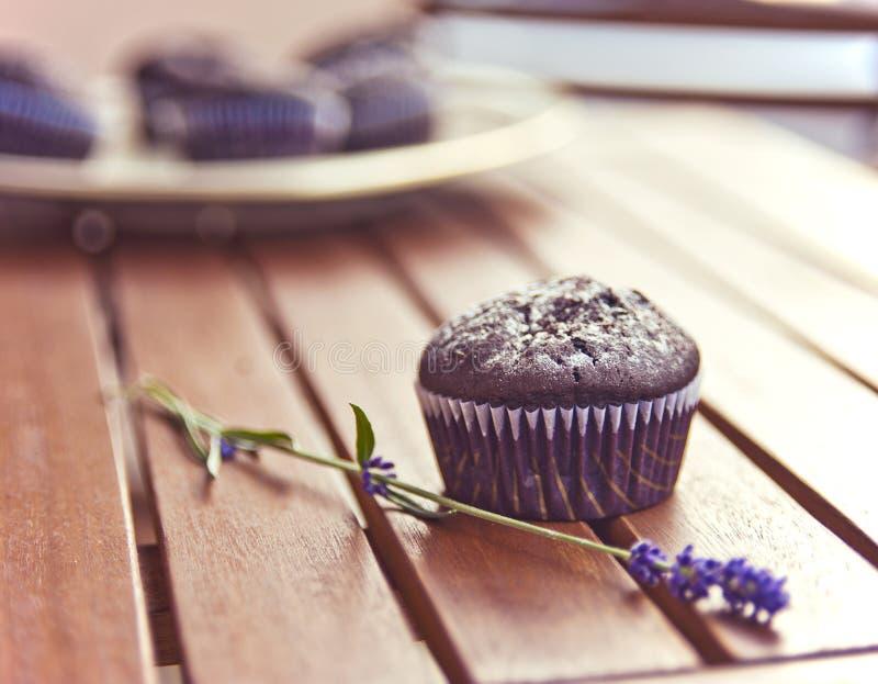 Chocolade cupcakes stock foto