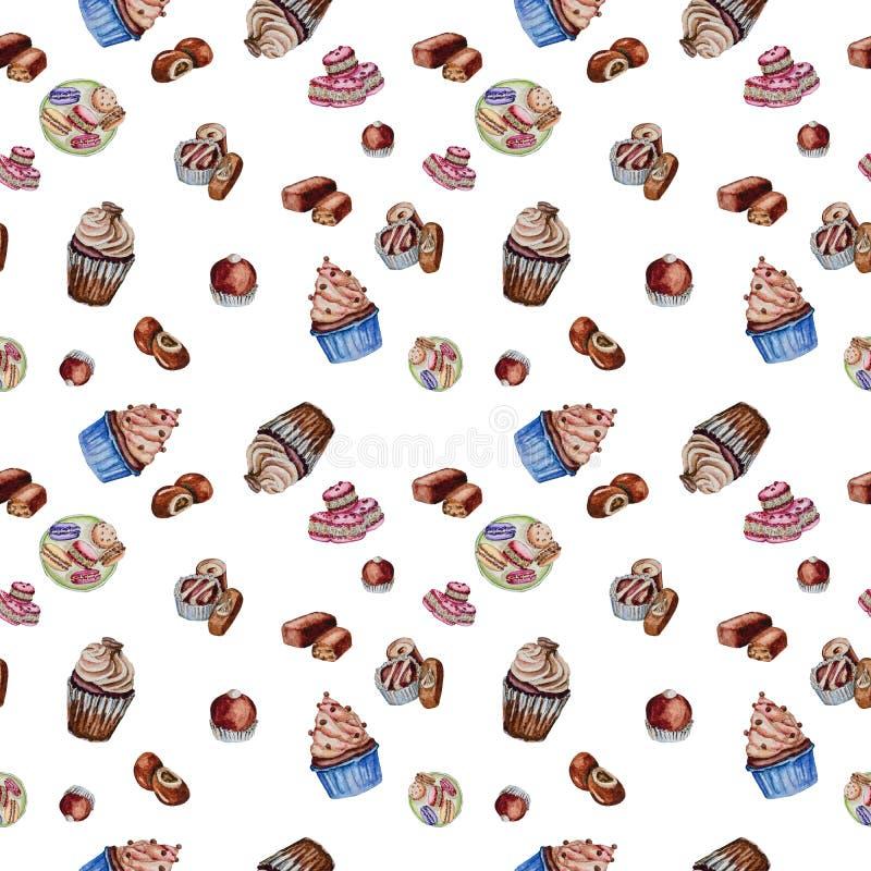 Chocolade cupcakes, suikergoed en makarons stock foto