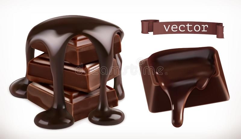 Chocolade 3d realistisch vectorpictogram vector illustratie