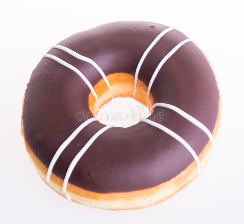 Chocolade donuts op een witte achtergrond stock foto