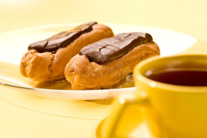 Chocolade eclair stock foto's