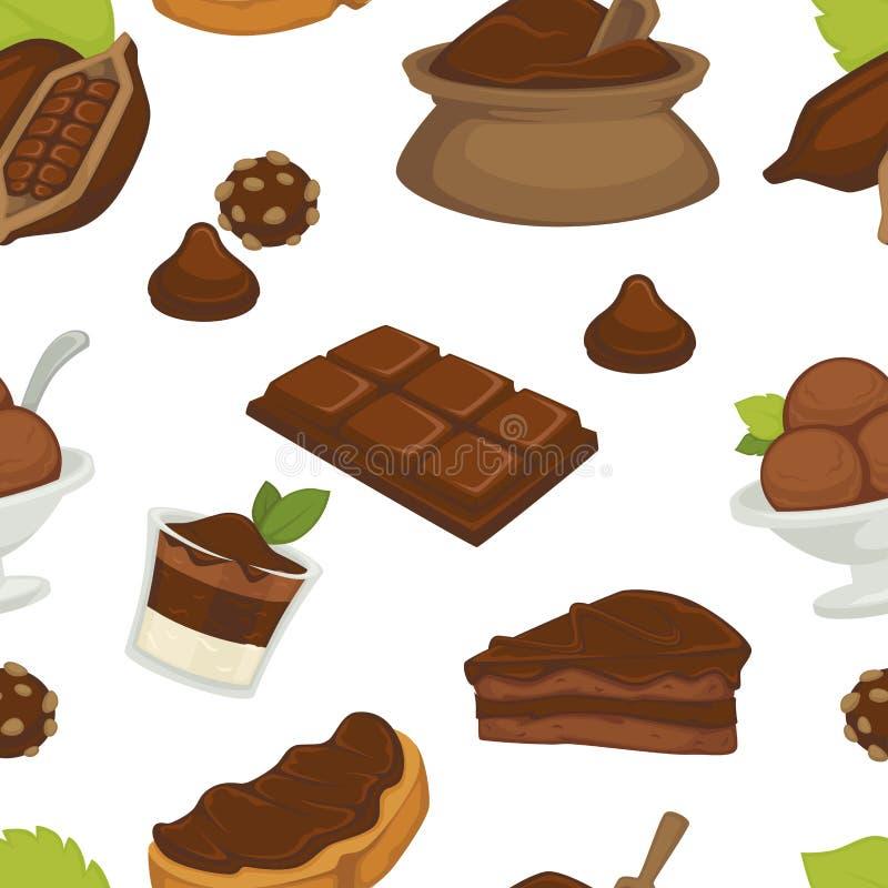 Chocolade en cacaoboter het patroonvector van de productenverscheidenheid vector illustratie