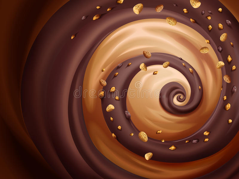 Chocolade en karamelsaus stock illustratie