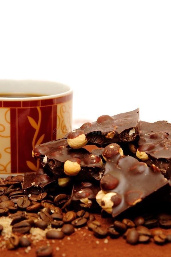 Chocolade en koffie stock afbeeldingen