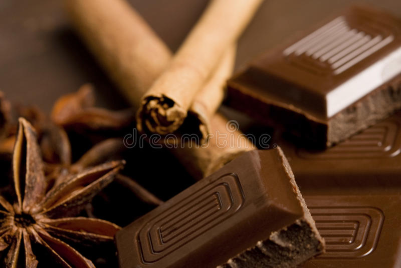 Chocolade en kruiden royalty-vrije stock fotografie