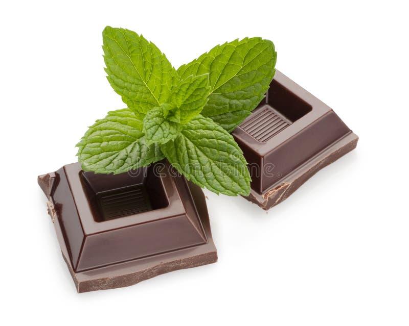 Chocolade en munt royalty-vrije stock afbeelding