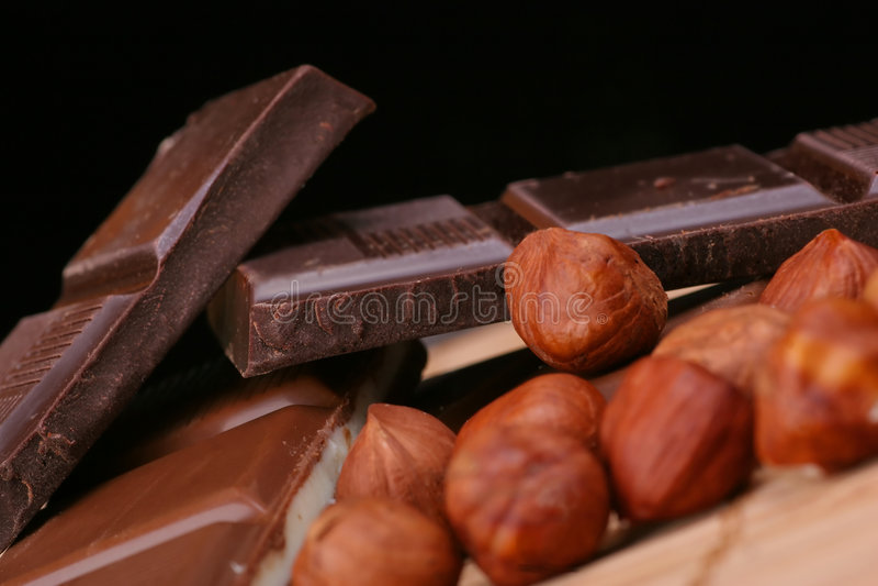 Chocolade en Noten royalty-vrije stock afbeeldingen