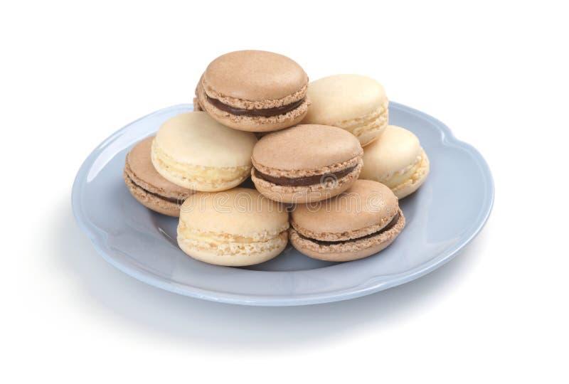 Chocolade en Vanille de Franse Koekjes van Macaron royalty-vrije stock afbeeldingen