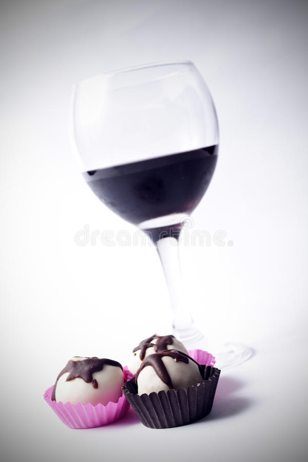 Chocolade en wijn royalty-vrije stock foto's