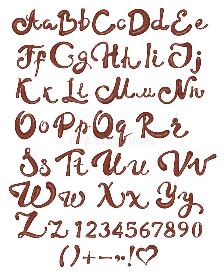 Chocolade Engels alfabet Bruine met de hand geschreven letters en getallen op witte achtergrond stock illustratie
