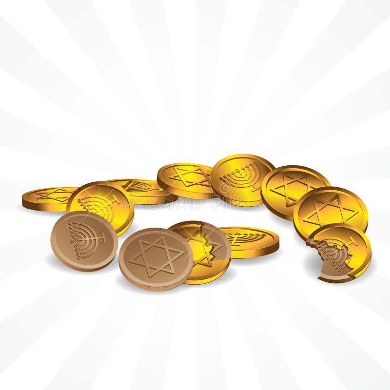 Chocolade in gouden verpakkingssymbolen van de ster van David en de zeven-candlestick op een geïsoleerde achtergrond Vectorafbeel vector illustratie