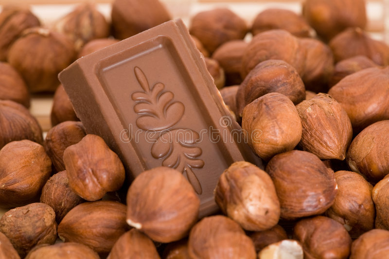 Chocolade in hazenuts stock afbeeldingen