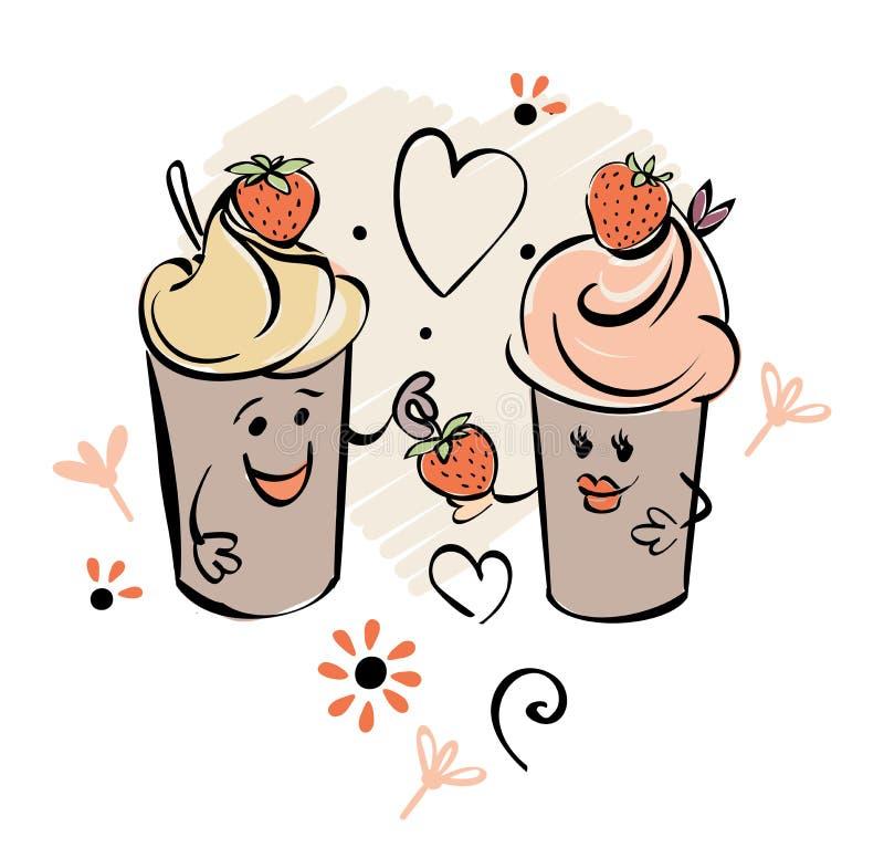 Chocolade lody charakter i truskawka, serce Chłopiec daje jagody dziewczyna Czarne biel menchie ręcznie robiony ilustracji