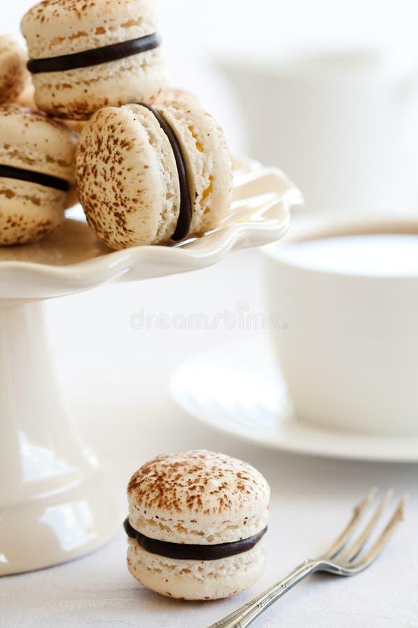 Chocolade macarons royalty-vrije stock foto's