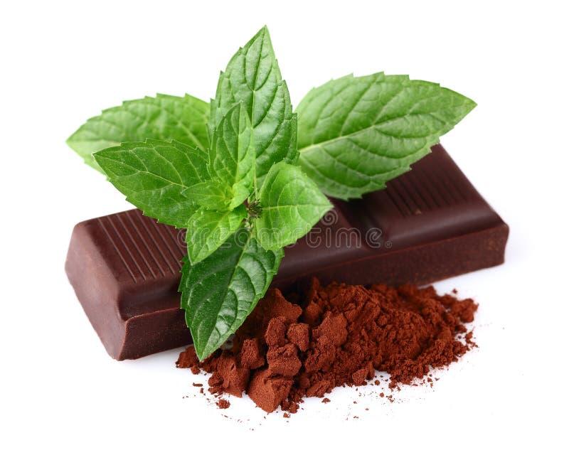 Chocolade met munt stock foto