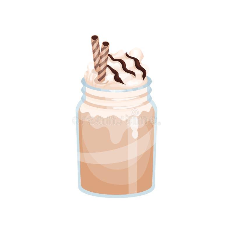 Chocolade of mochamelk smoothie, verfrissingdrank in het beeldverhaal vectorillustratie van de metselaarkruik royalty-vrije illustratie