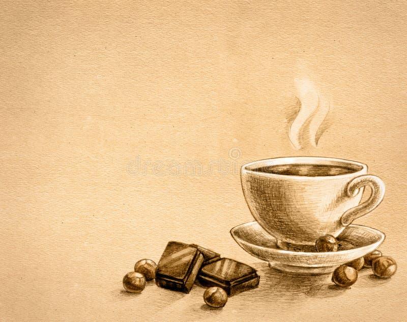 Chocolade, noten en kop thee royalty-vrije illustratie