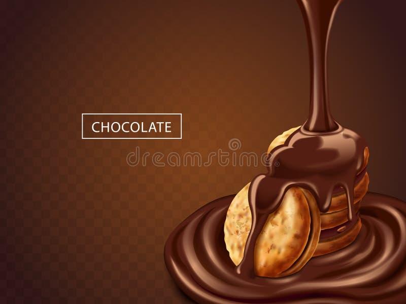 Chocolade op koekjes vector illustratie